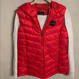 BEBE Sport Red Puffy Vest with hood